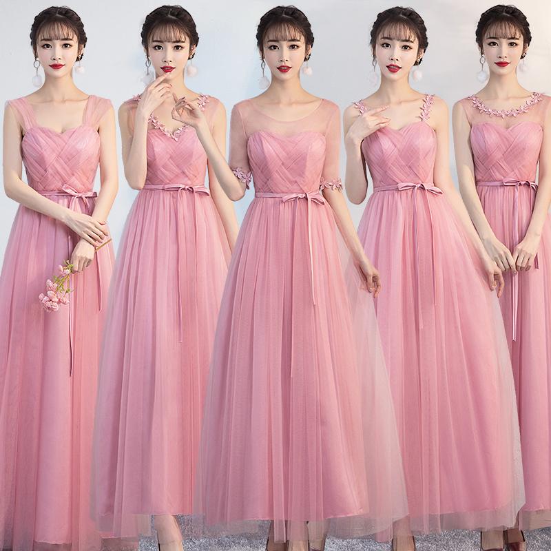 豆沙粉伴娘服长款绑带款礼服结婚婚礼姐妹裙韩版一字肩中袖 包邮