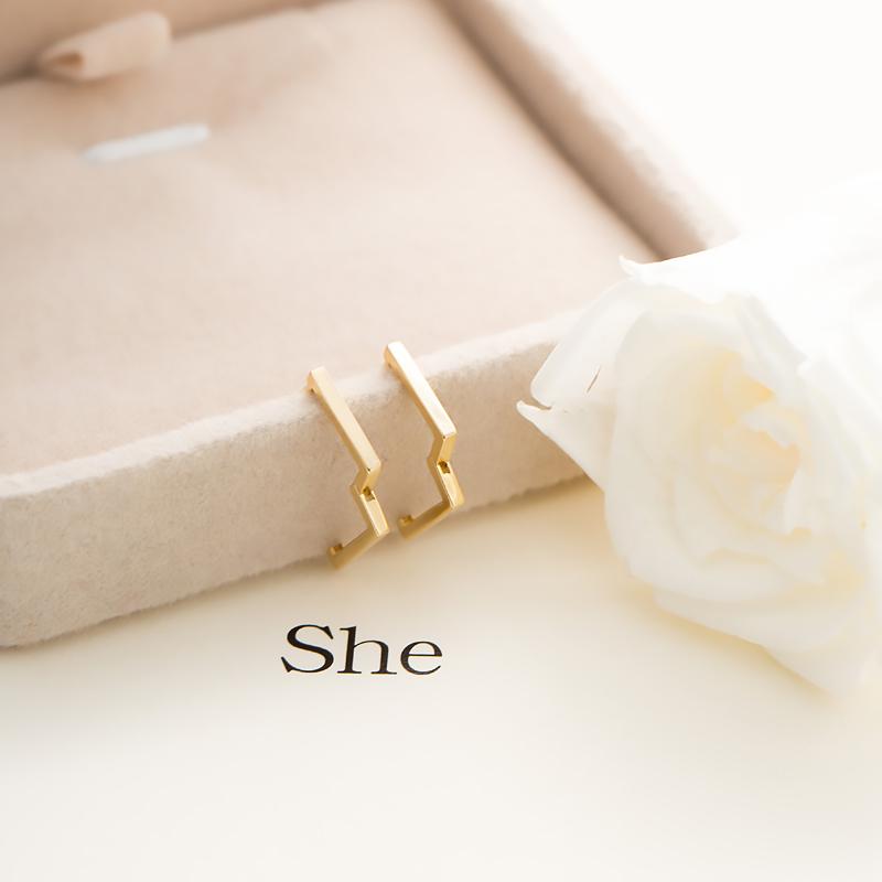 金  077 女款素金彩金耳环男朋友同款耳扣 叶子 14k 金色方形简约气质