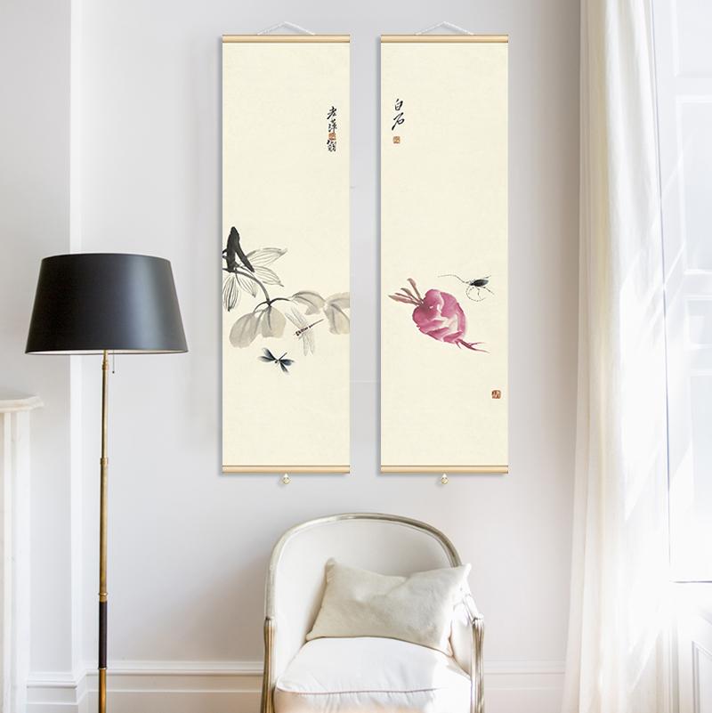 新古典齊白石國畫卷軸茶室包廂禪意中式風格樣板間玄關餐廳裝飾畫