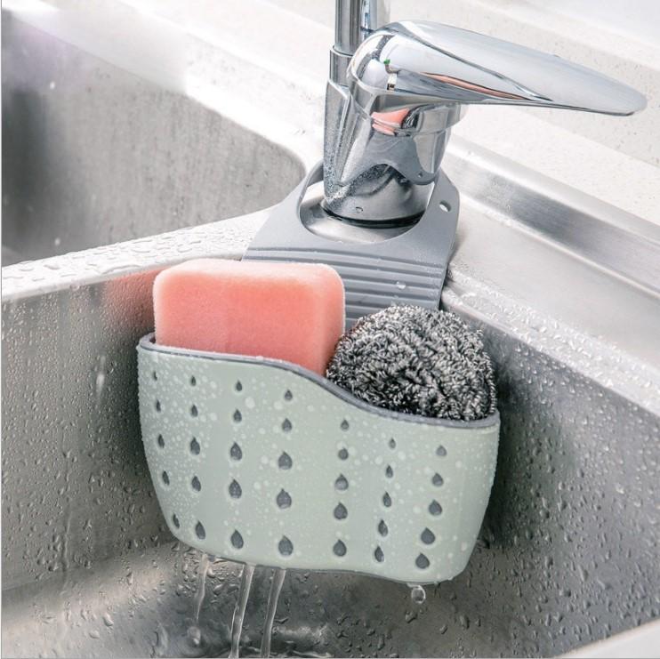 莎愛潔 多功能可調節按扣式水槽收納掛籃 炫彩多用海綿瀝水掛袋
