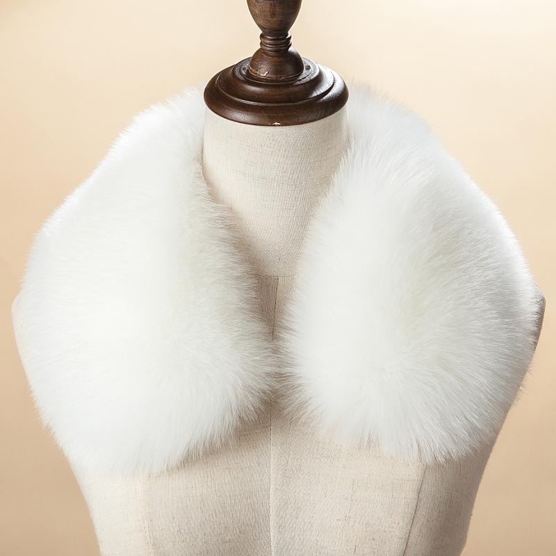 【天天特价】仿皮草狐狸毛白色百搭大衣毛领子羽绒服帽条通用女士