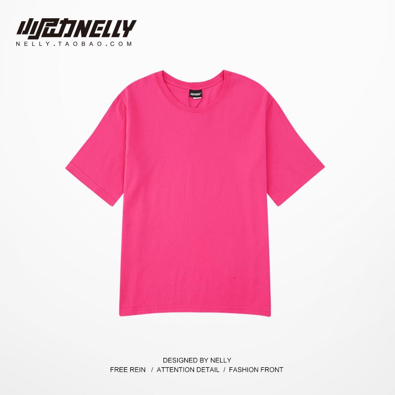 小尼力bf美式重磅纯棉短袖t恤男女基础款纯色oversize打底白色TEE