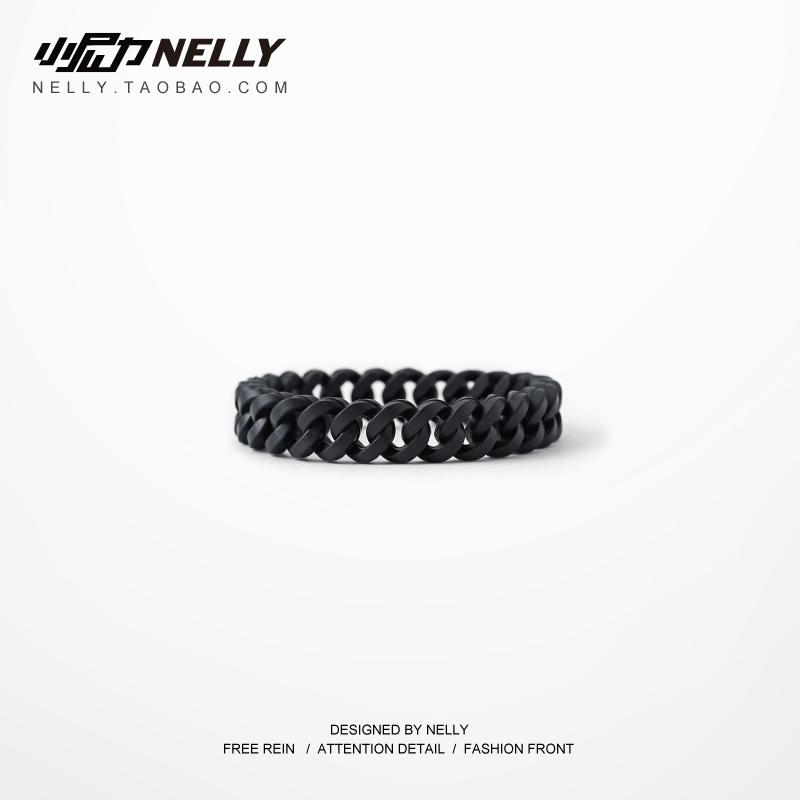 美国原创潮牌 锁链嘻哈潮牌街头纯黑色环保硅胶佛珠手环手镯手链