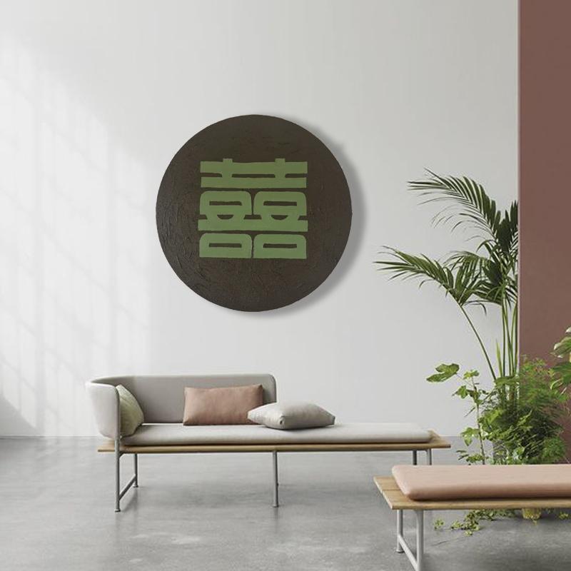 原創純手繪掛畫客廳藝術感厚肌理北歐圓形手工油畫入戶玄關裝飾畫