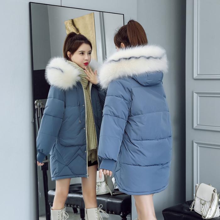 羽绒棉服2019新款大毛领韩版宽松中长款棉衣女加厚面包服学生外套