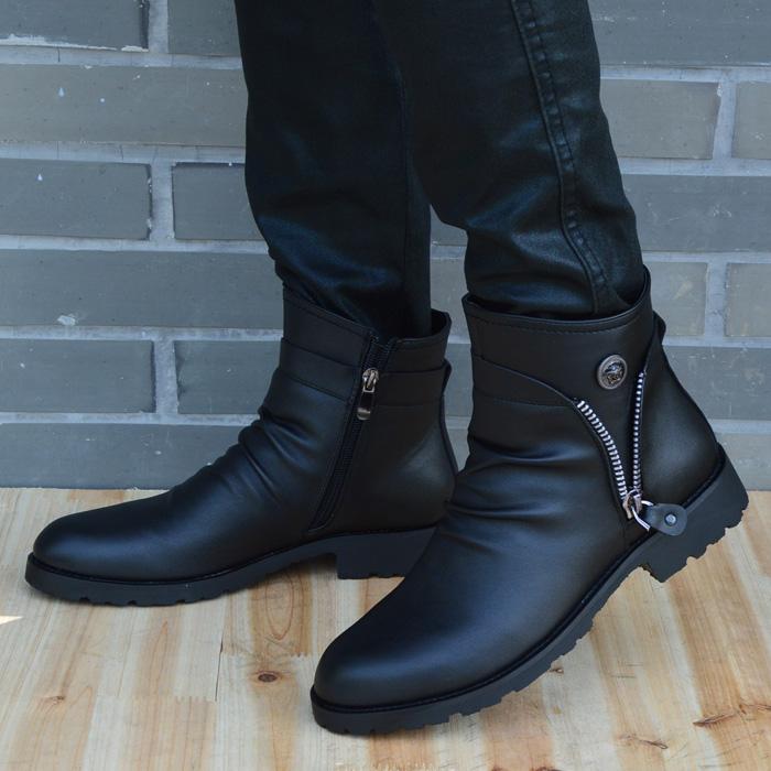 马丁靴男英伦高帮鞋冬季真皮男士尖头短靴韩版潮流时尚休闲皮靴子