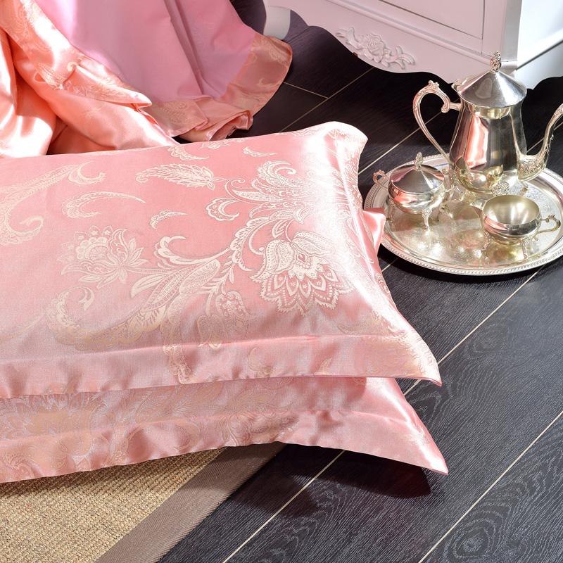 枕套一对装2只 枕头套贡缎提花单件学生宿舍单双人48*74包邮