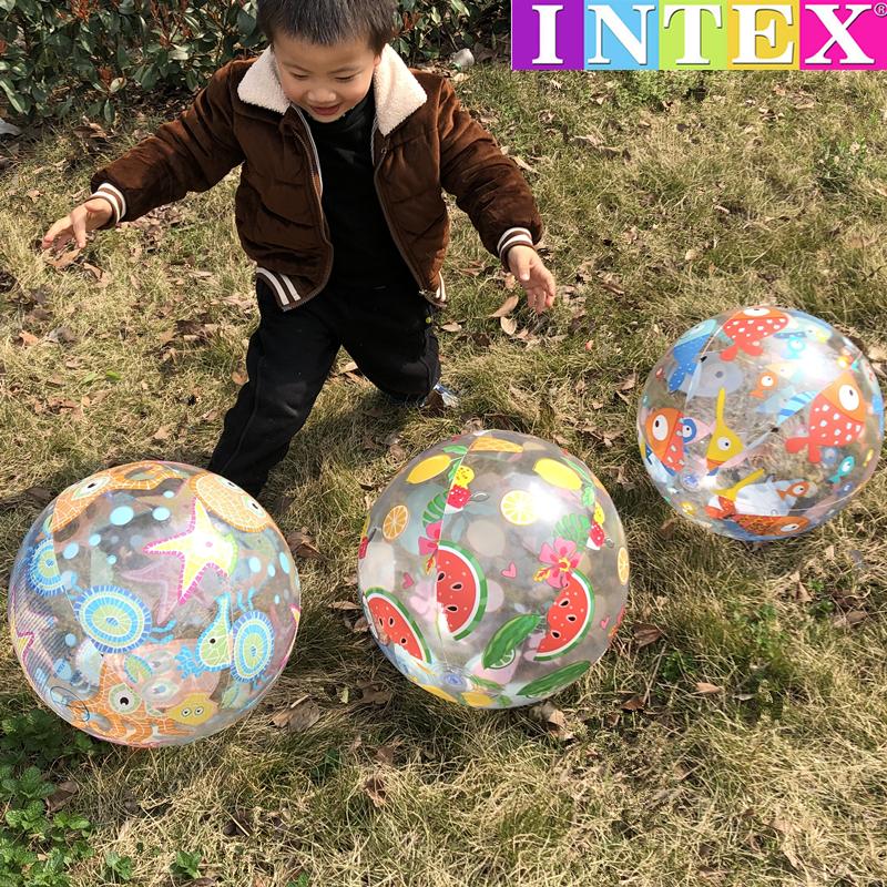 美國INTEX卡通圖案兒童戲水球 大號充氣海洋球男女寶寶游泳手拍球