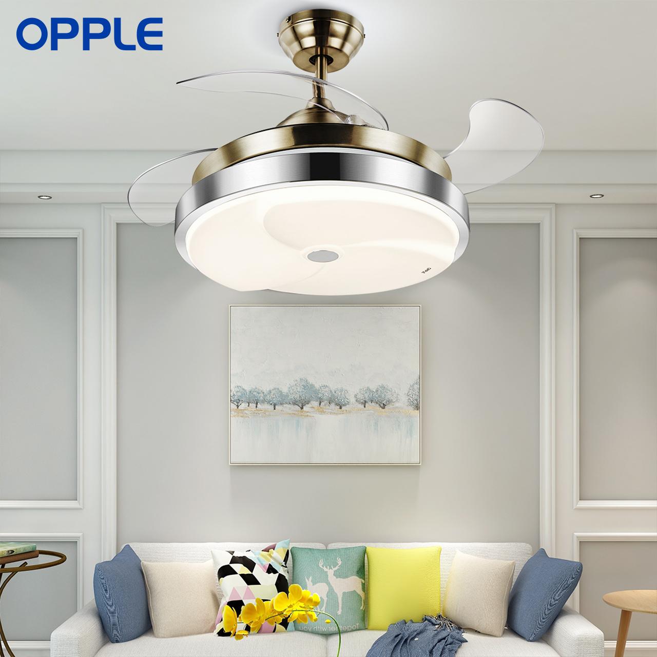 风扇欧式吊灯 LED 吊扇灯风扇灯客厅餐厅卧室家用简约现代带 OPPLE