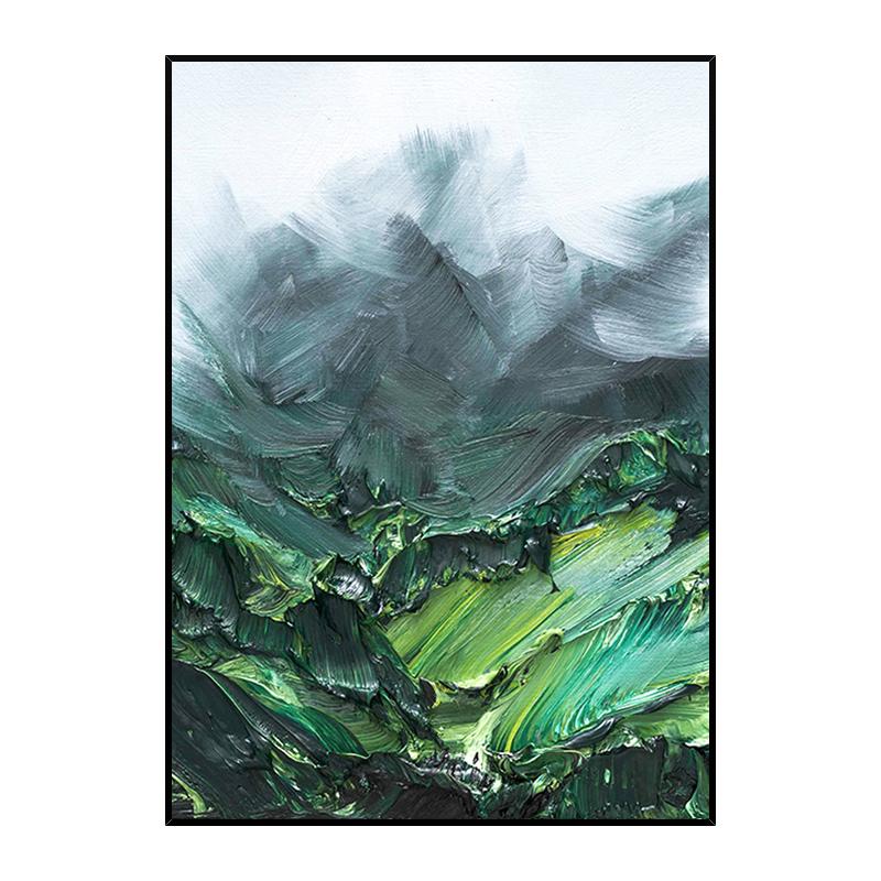 手繪抽象油畫玄關客廳裝飾畫現代簡約北歐掛畫厚油肌理立體山脈