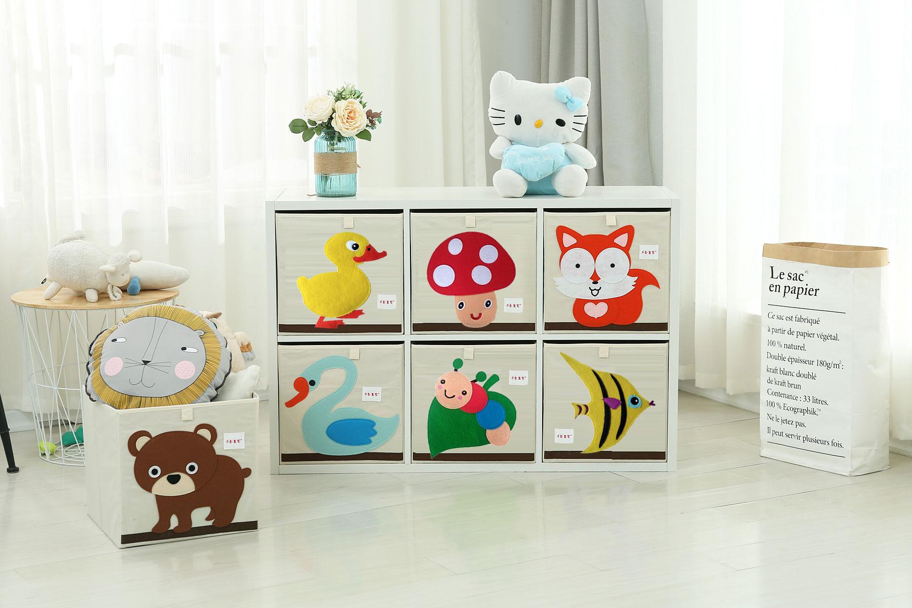 千合惠客可折叠儿童玩具整理箱牛津布有盖特大布艺收纳盒框幼儿园