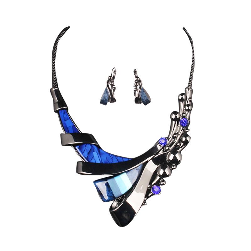 蓝色时尚百搭夸张饰品锁骨链配饰 麦芭贝尔   装饰项链女