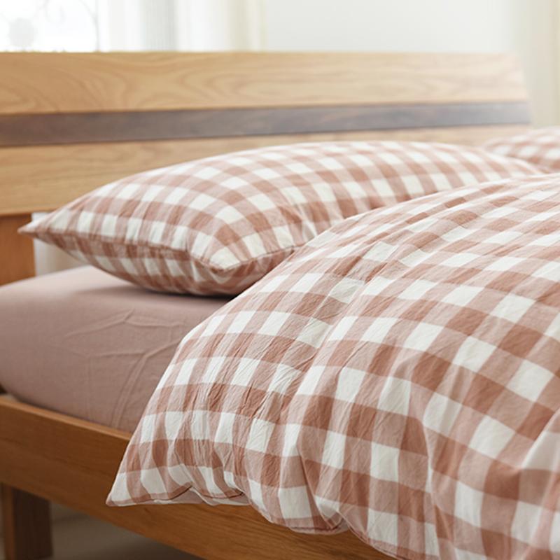 新款纯棉水洗四件套全棉格子套件小小格中格水洗棉被套床单床笠款
