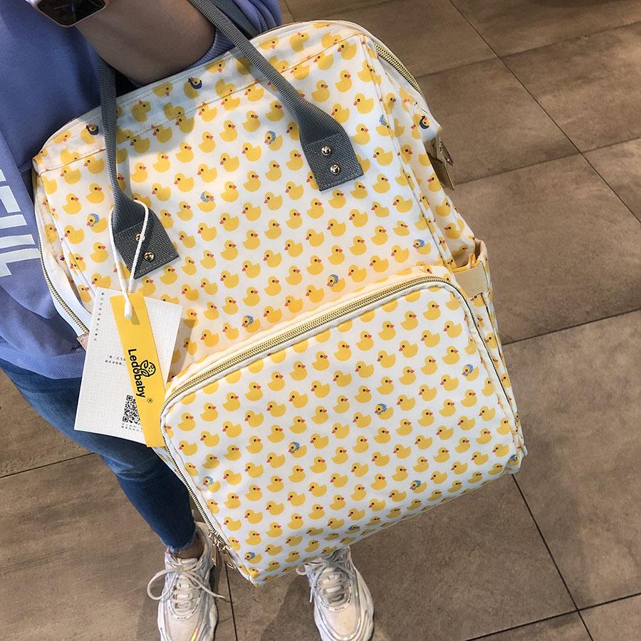 乐豆 小萌鸭轻便型双肩妈咪包 便携式防水多功能大容量妈咪袋