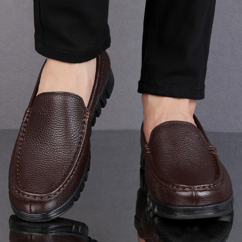 新款春季真皮休闲男皮鞋男鞋圆头软面皮软底中老年爸爸鞋透气防滑