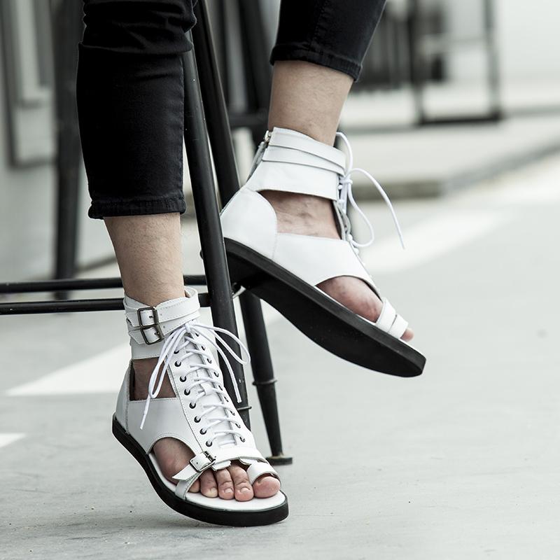 2019夏季新款男士高帮凉鞋百搭潮男罗马沙滩鞋韩版真皮休闲男凉鞋