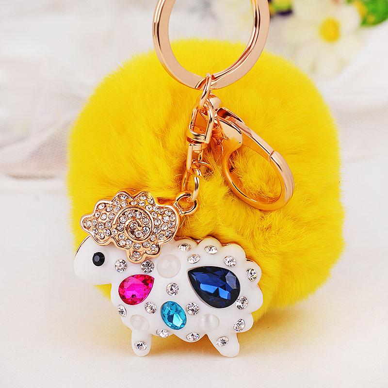 水晶水钻小羊汽车钥匙扣女毛绒韩国可爱创意包包挂件钥匙链圈饰品