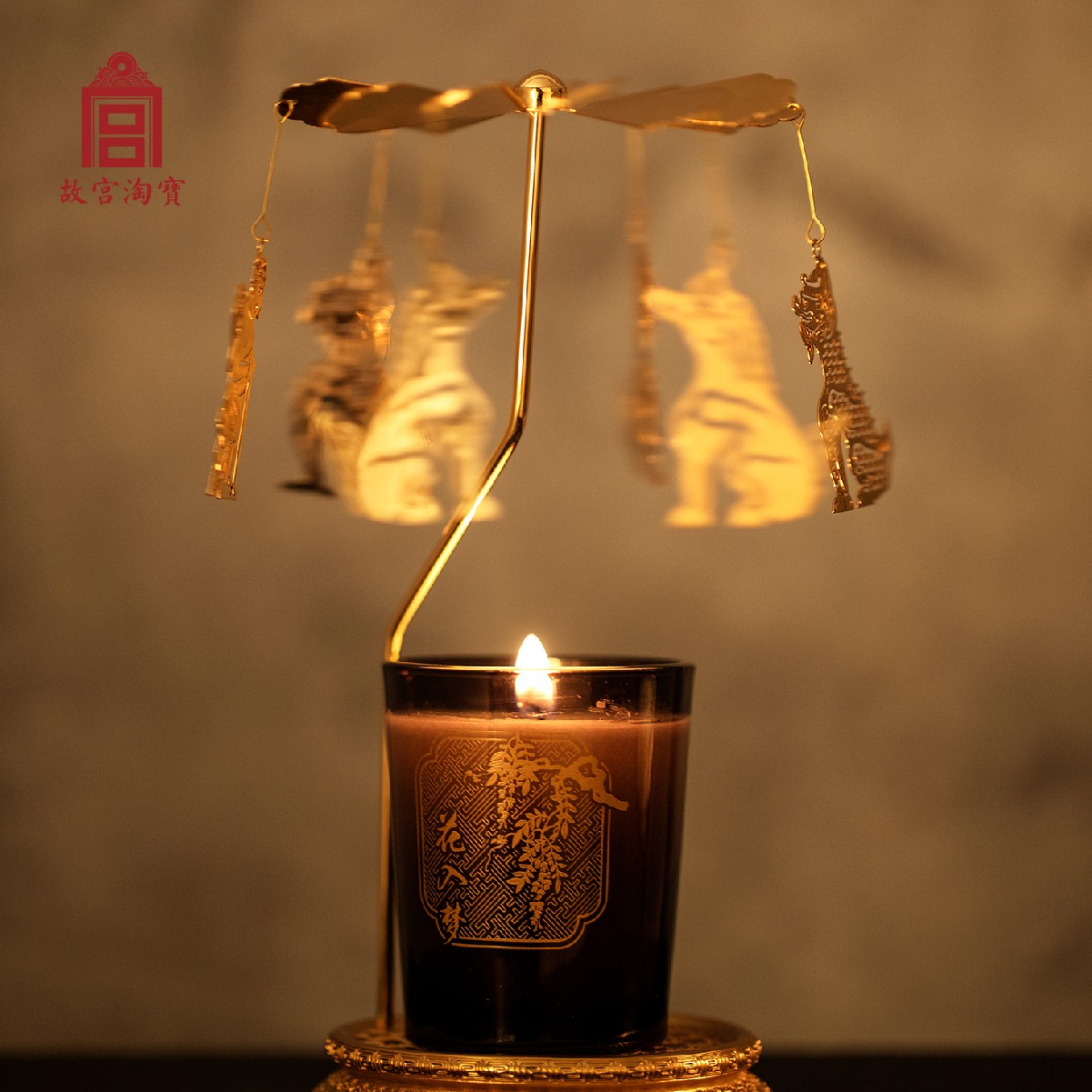 杯裝 2 香薰蠟燭套裝瑞獸走馬燈圣誕禮物 瑞獸戲宮燭 故宮淘寶
