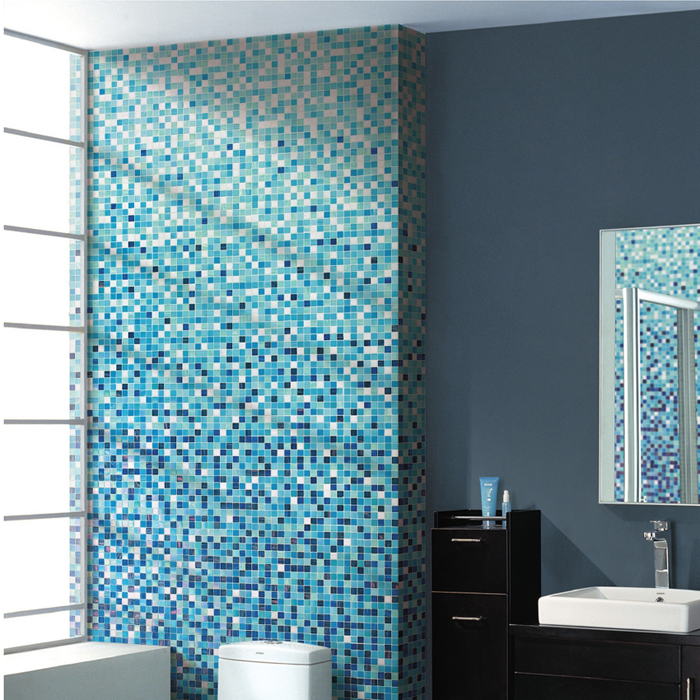 Flower Stone Language Grant Blue Mosaic Gl Tile Bathroom Tv Backdrop Wall Stickers In Price On M Alibaba