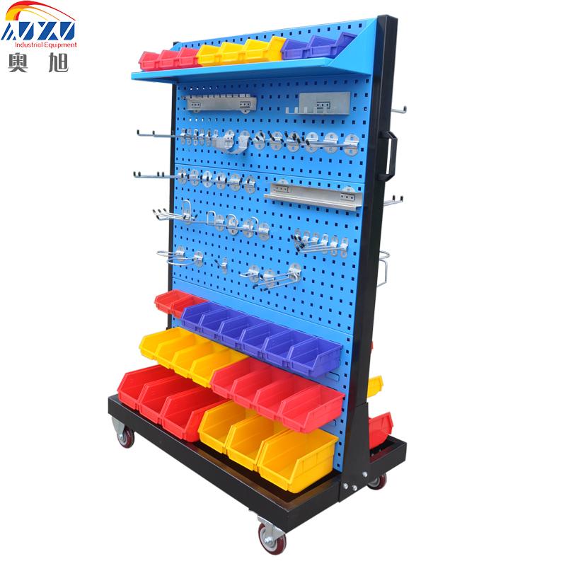 单面双面移动物料整理架单挂钩方孔五金工具架车间多功能展示洞板