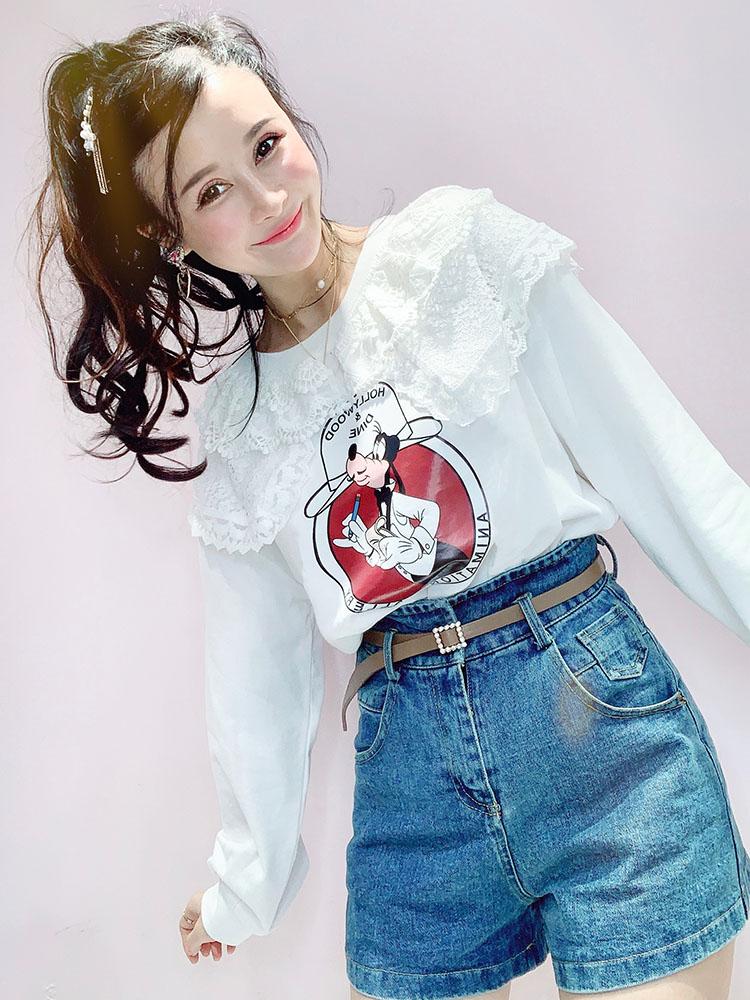 2020春新款韩版甜美学院风蕾丝拼接娃娃领套头显瘦宽松卫衣上衣女主图