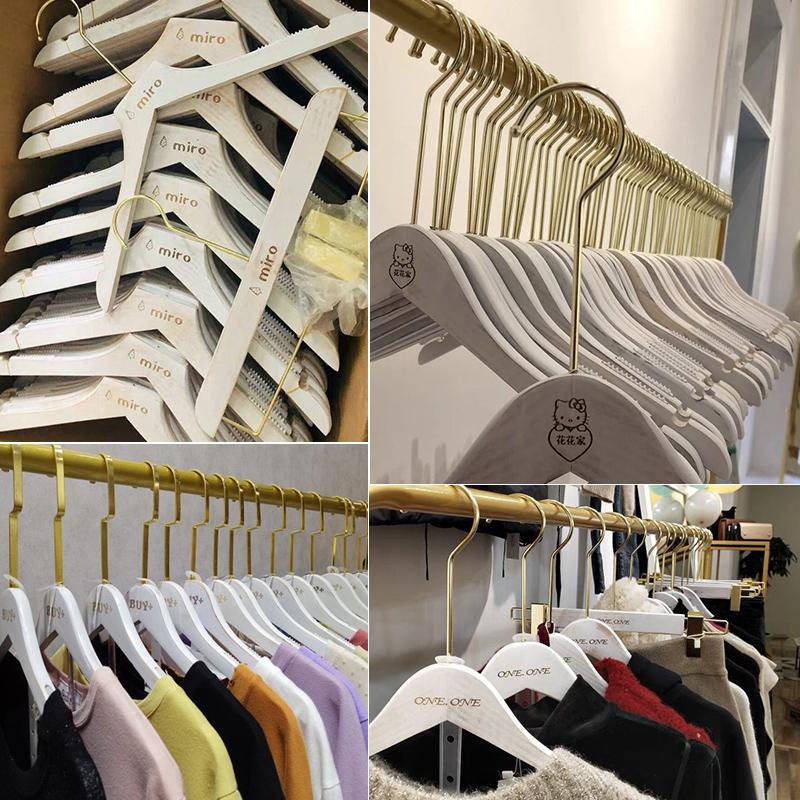 定制旧白色服装店专用儿童女装实木衣架批發木质衣挂防滑衣服撑子