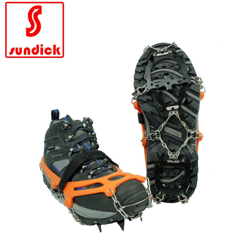 包郵山地客加強版防滑鞋套高強不鏽鋼鏈攀冰攀巖登山防滑12齒冰爪