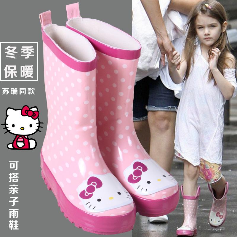 兒童雨鞋女童防滑水鞋Kitty貓寶寶親子雨靴卡通水靴小孩學生膠鞋