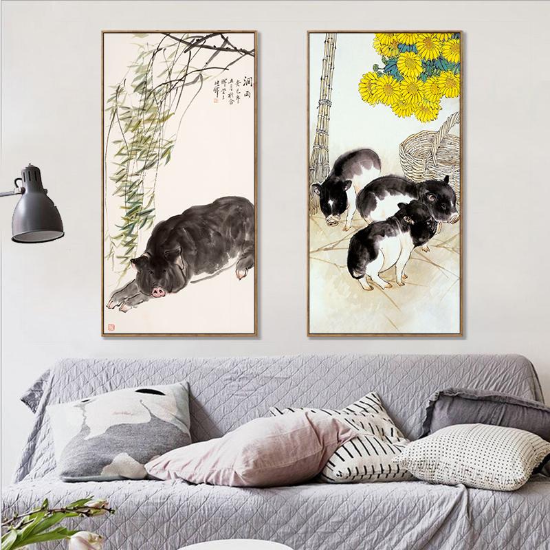 小黑豬生肖動物國畫字畫豬裝飾畫客廳臥室絲綢卷軸掛畫禮品畫掛軸