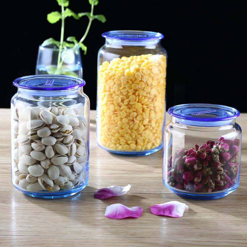 乐美雅玻璃茶叶罐奶粉瓶透明带盖家用防潮密封罐花茶罐杂