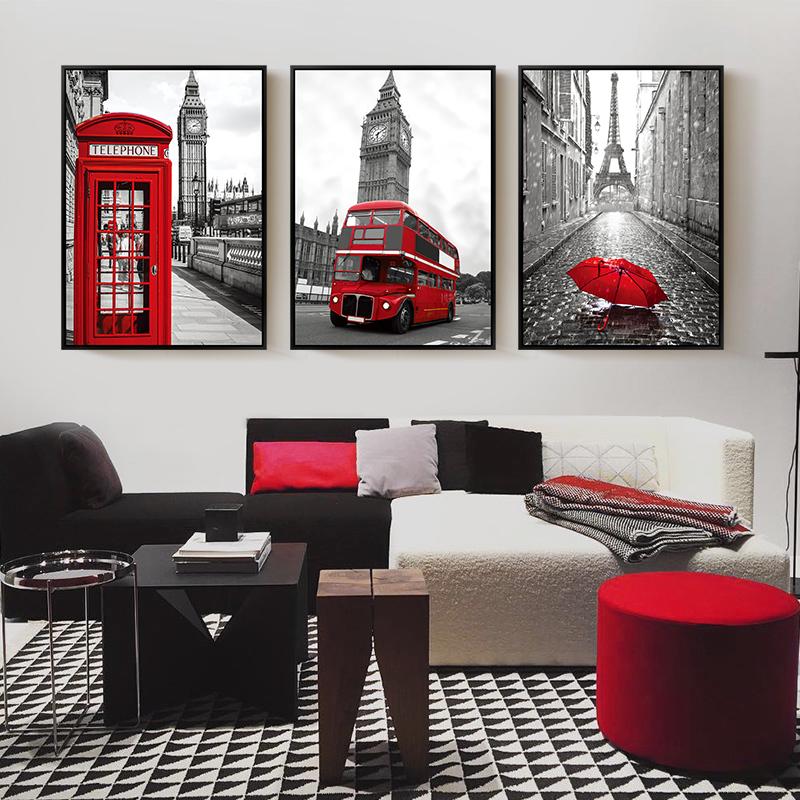 黑白現代客廳裝飾畫簡約掛畫沙發背景畫三聯畫工業風壁畫建築風景
