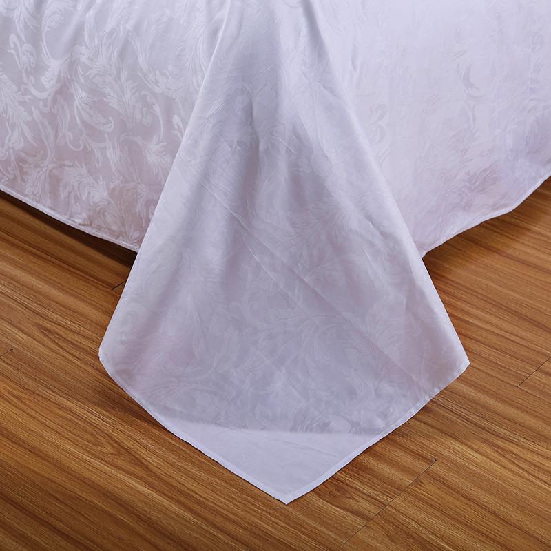 60支全棉宾馆白色提花床单单件 五星级酒店纯棉被单 贡缎床上用品
