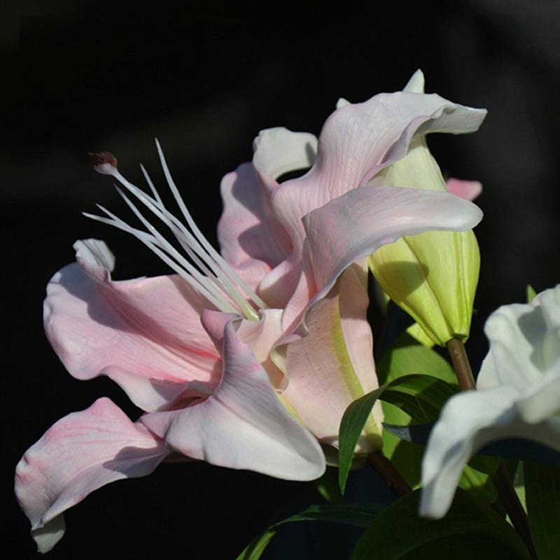 保湿手感百合花仿真花客厅假花摆件装饰高档落地大朵百合 PU 高仿真