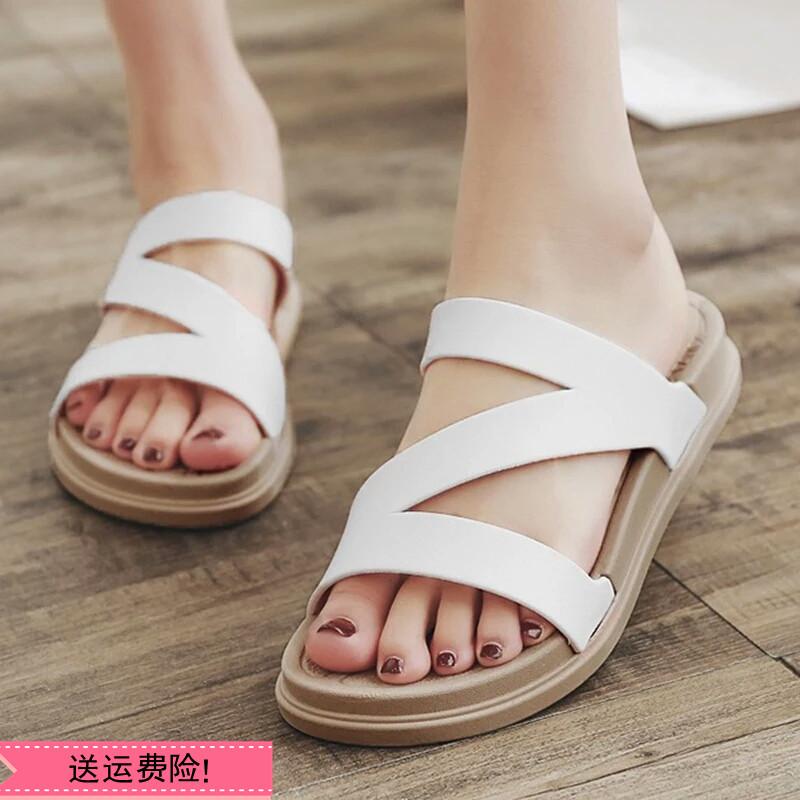 韩版一字拖鞋厚底坡跟沙滩凉拖平底防滑学生拖鞋女夏外穿