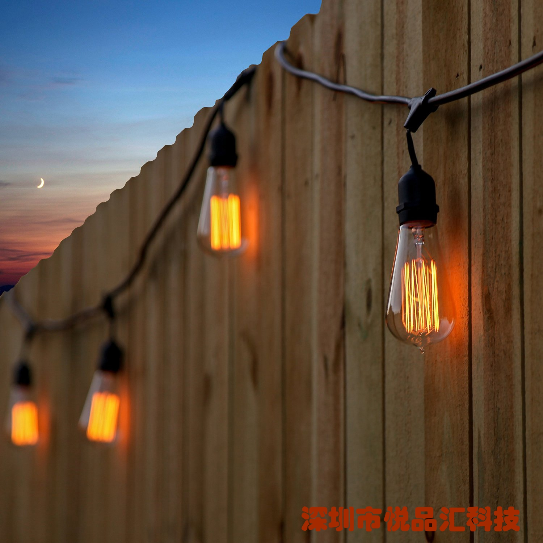 螺口个姓家用白炽灯 E27 户外防水装饰钨丝灯串创意经典复古长灯泡