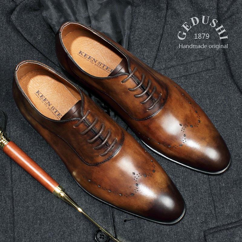 義大利固特異手工皮鞋男鞋真皮德比鞋婚鞋商務正裝皮鞋尖頭牛津鞋