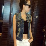 Everyday specials denim vest women's spring and summer wild slim waistcoat rivets were thin and short T-shirt waistcoat