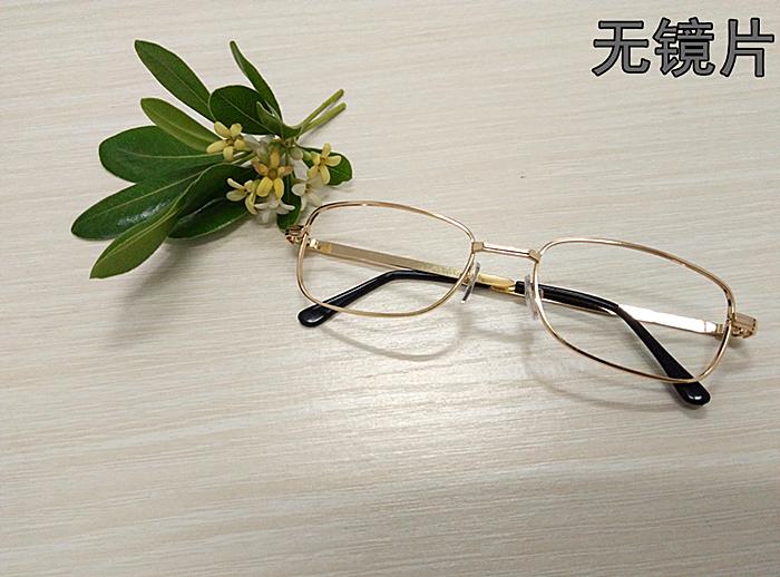 方形镜框无镜片男女摄影道具装饰眼镜长方形金色金属镜架两副包邮
