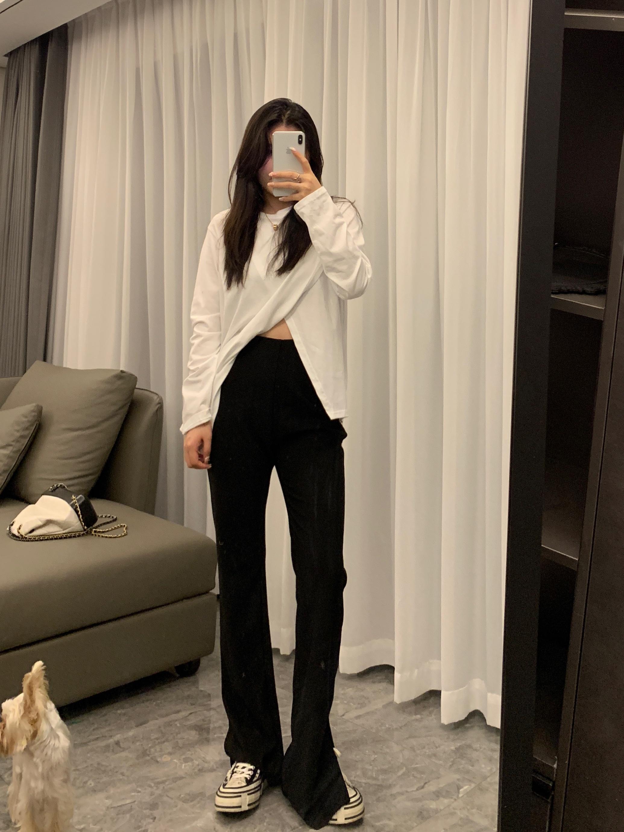 BLACKY开叉裤子女秋款女装2021年高腰直筒垂感拖地西装阔腿裤长裤