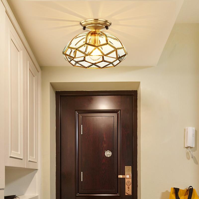 欧式全铜入户灯简约现代卧室玄关阳台灯美式走廊过道衣帽间吸顶灯