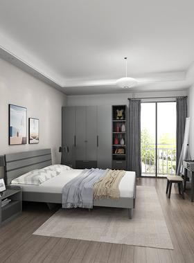 木月现代简约床北欧主卧架子床小户型双人床1.5m出租房板式儿童床
