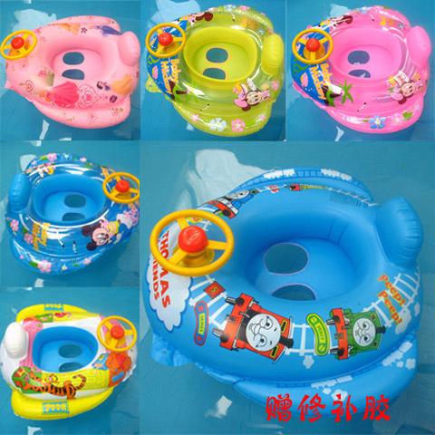 新款兒童游泳圈 嬰兒帶方向盤坐圈 寶寶坐艇 男童女童卡通浮艇