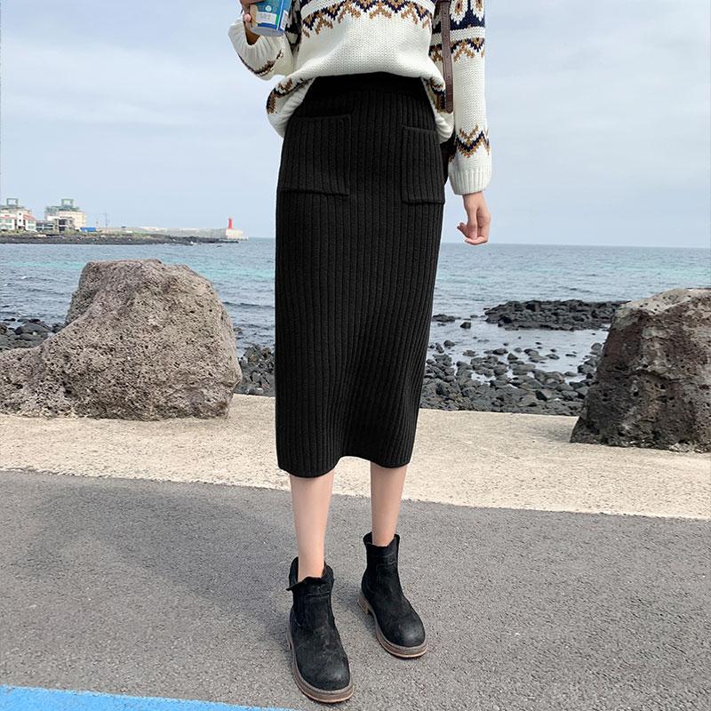 针织半身裙女春装2020年新款春秋冬毛线中长款开叉包臀黑色长裙子