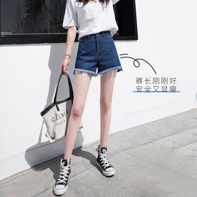 牛仔超短裤女夏季薄款高腰2021新款宽松网红爆款a字阔腿破洞热裤