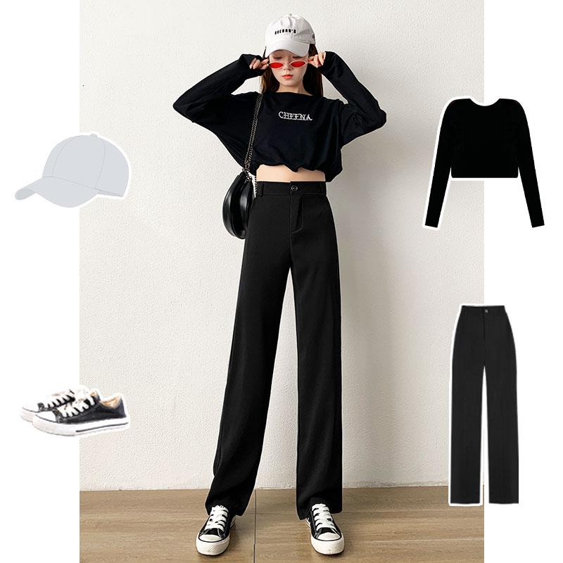 西装阔腿裤女裤子高腰小个子夏装搭配155显高穿搭春季矮个子150cm