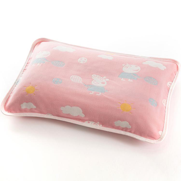 嬰兒枕套 純棉六層紗布卡通佩奇兒童小號幼兒園寶寶枕頭套無熒光