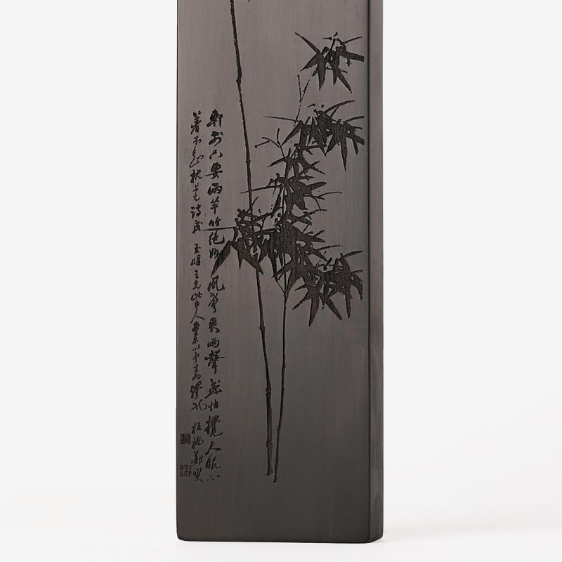 用品黑檀木雕刻竹子实木质文房四宝
