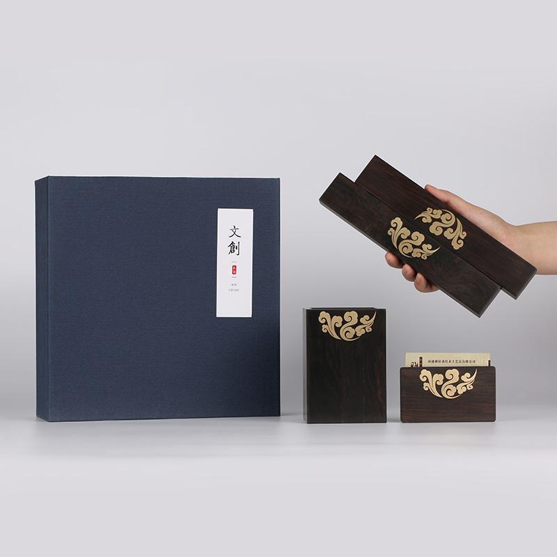 红木商务创意双镇纸名片夹实木笔筒
