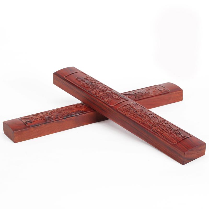 中国风红檀木浮雕梅兰竹菊用品镇尺
