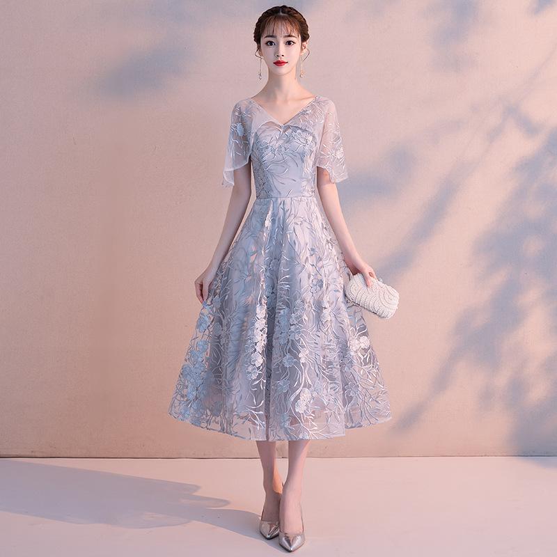 伴娘裙礼服仙气中式姐妹闺蜜中长款小个子显瘦遮手臂蓬蓬裙婚礼女